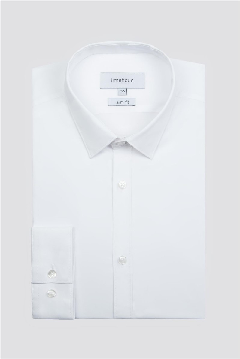 Limehaus White Stretch Poplin Single Cuff Shirt