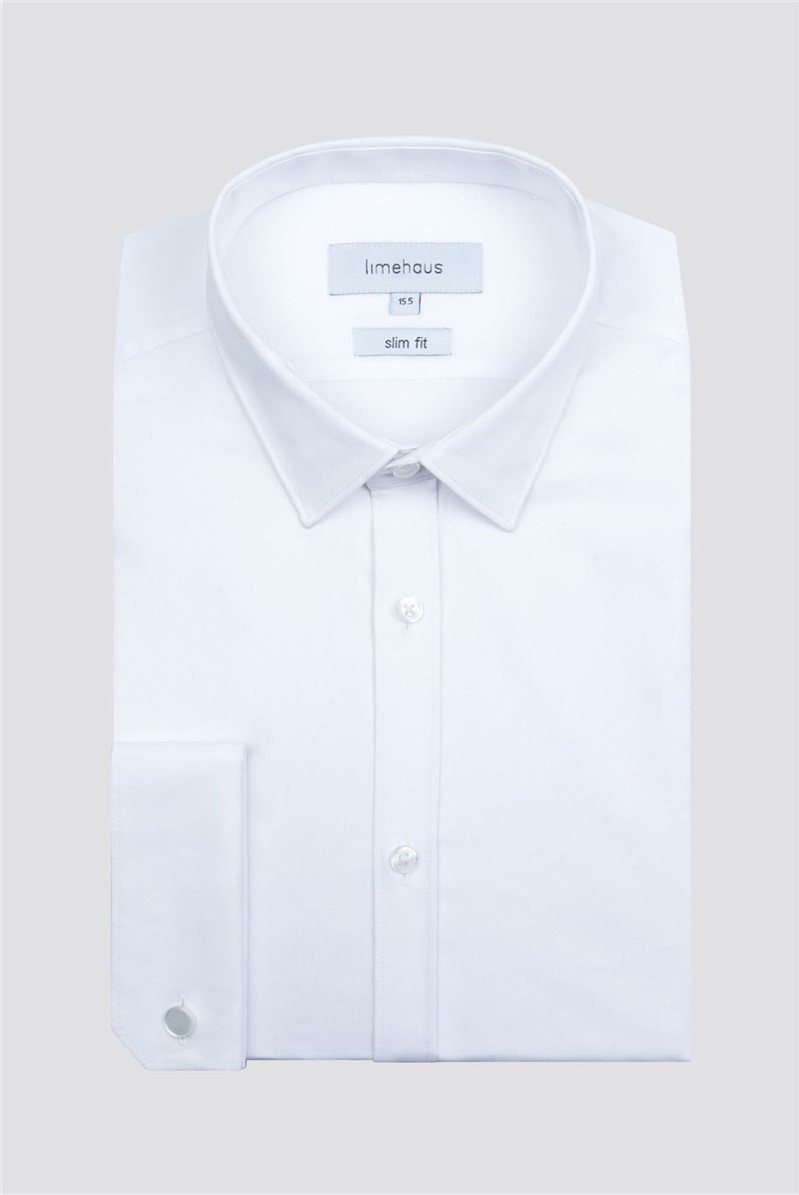 Limehaus White Stretch Poplin Double Cuff Shirt