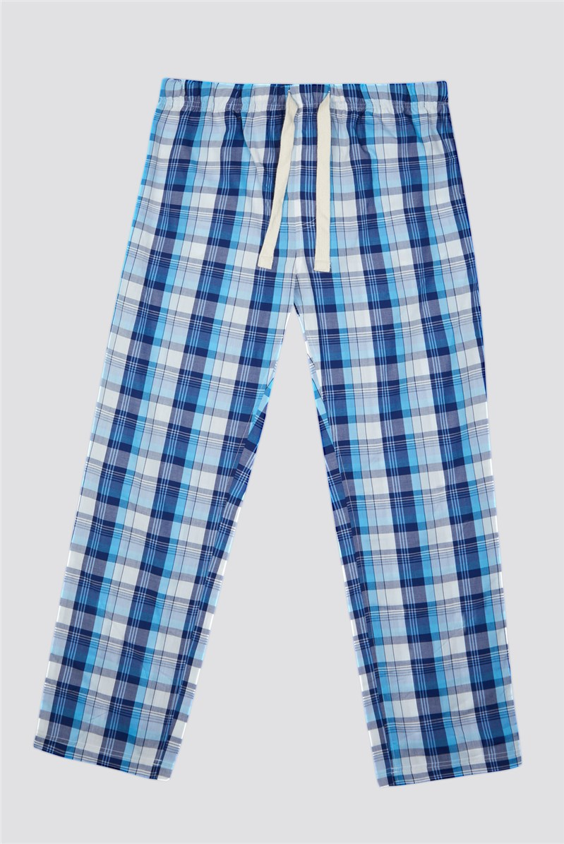Men's Turquoise Check Loungewear Pant