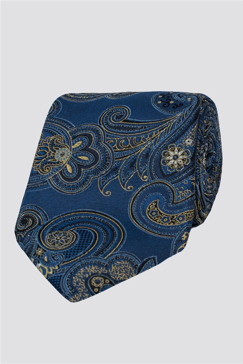 London Navy Tapestry Paisley Tie