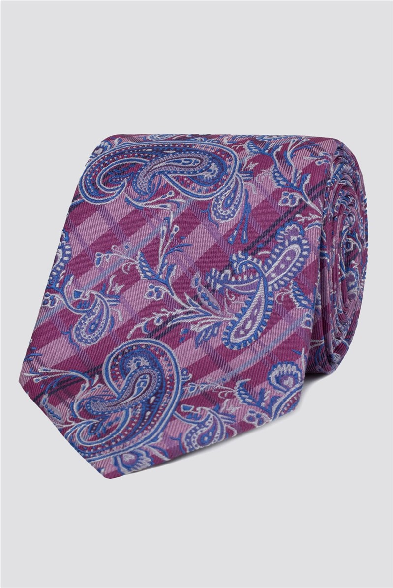 London Magenta Paisley Check Tie