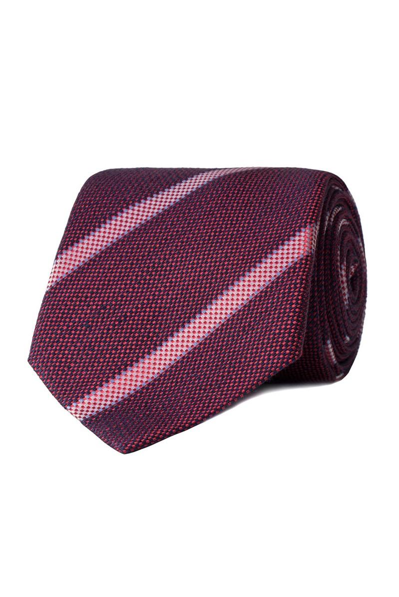 London Red Textured Stripe Tie