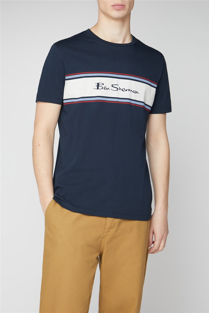 Chest Stripe Logo Print Tee