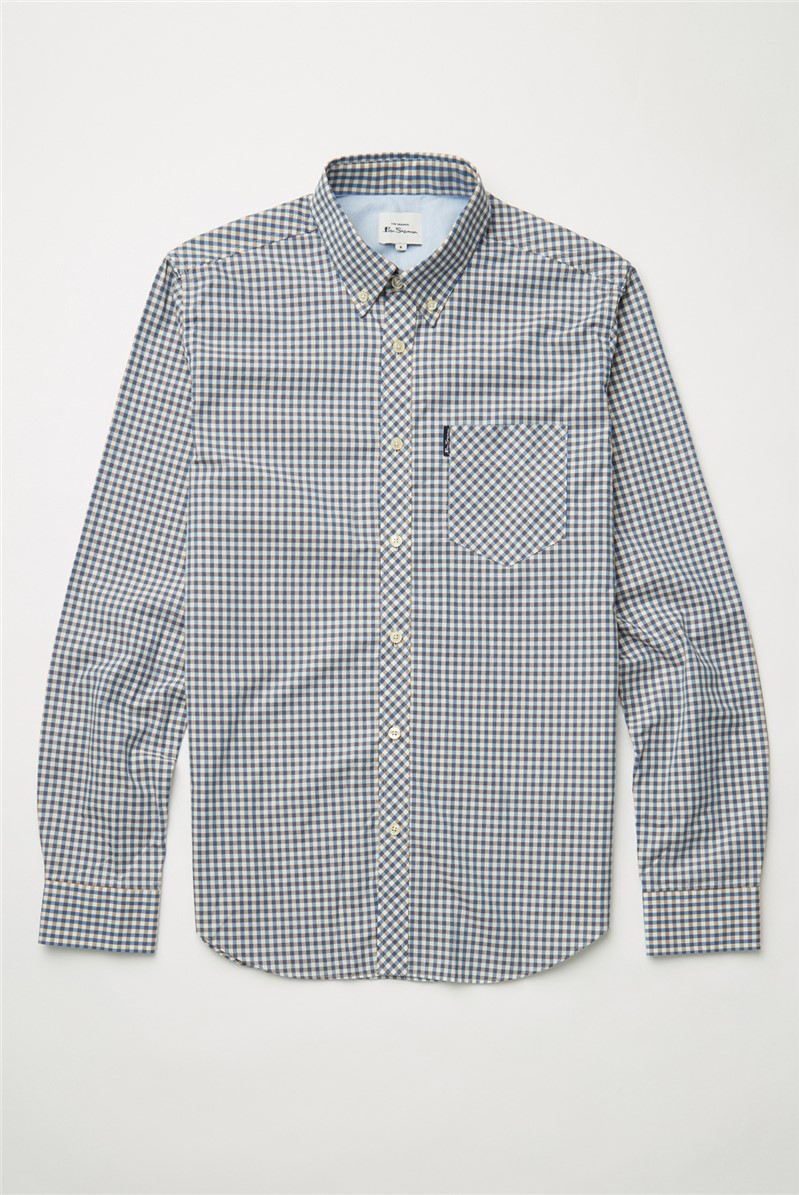 Persian Blue Signature Gingham Long Sleeved Shirt
