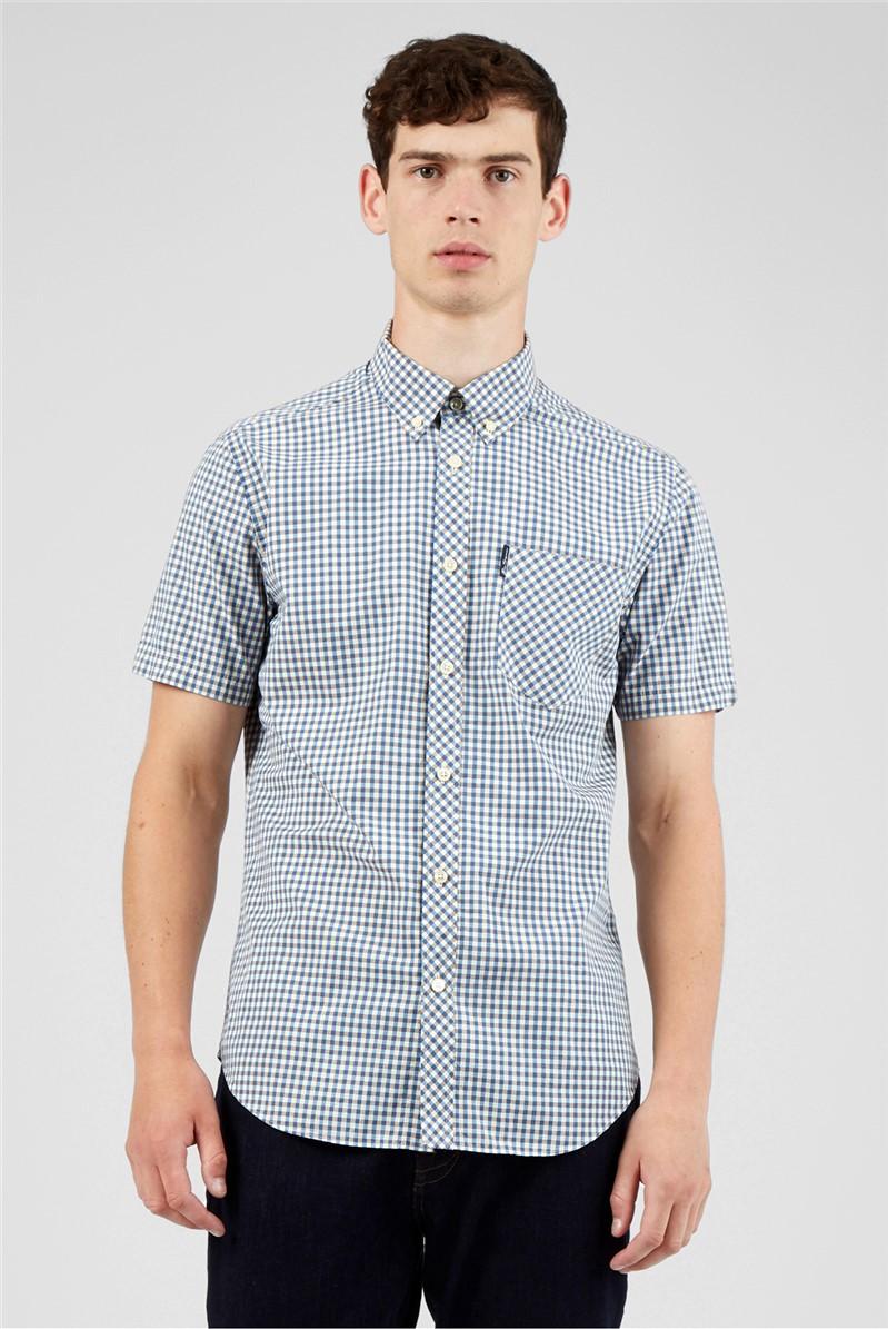 Persian Blue Signature Gingham Short Sleeved Shirt