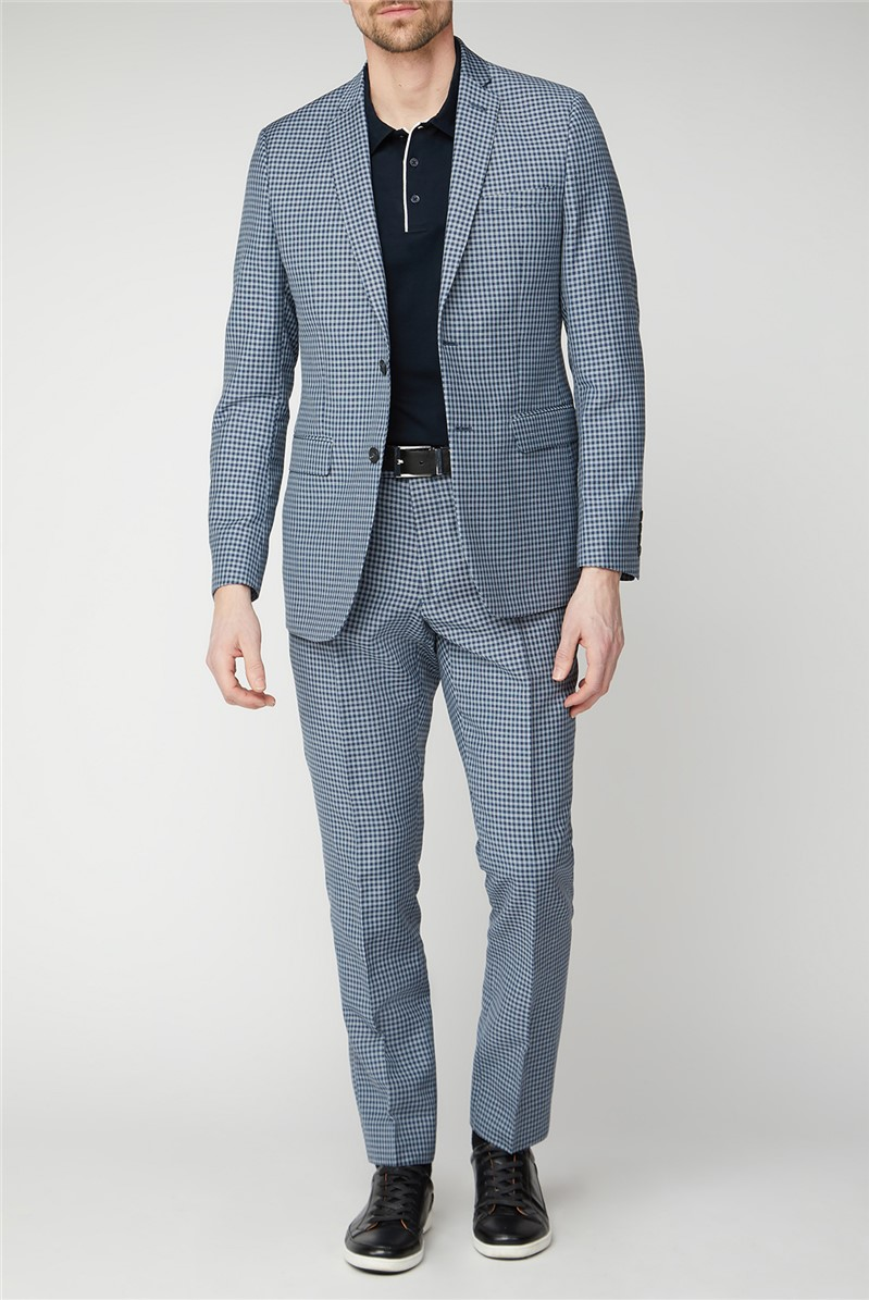 Mid Blue Gingham Mixed Tailoring Jacket