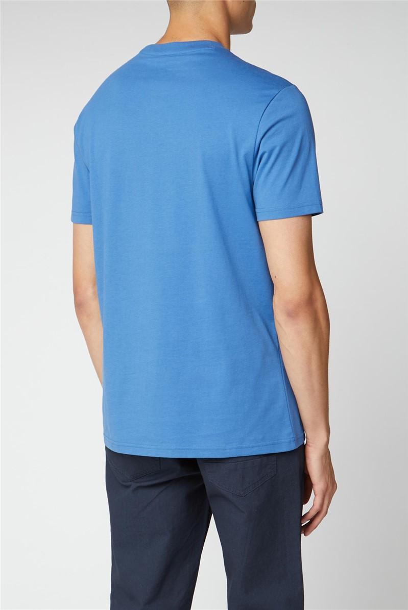 Printed Chest Stripe Tee - Blue
