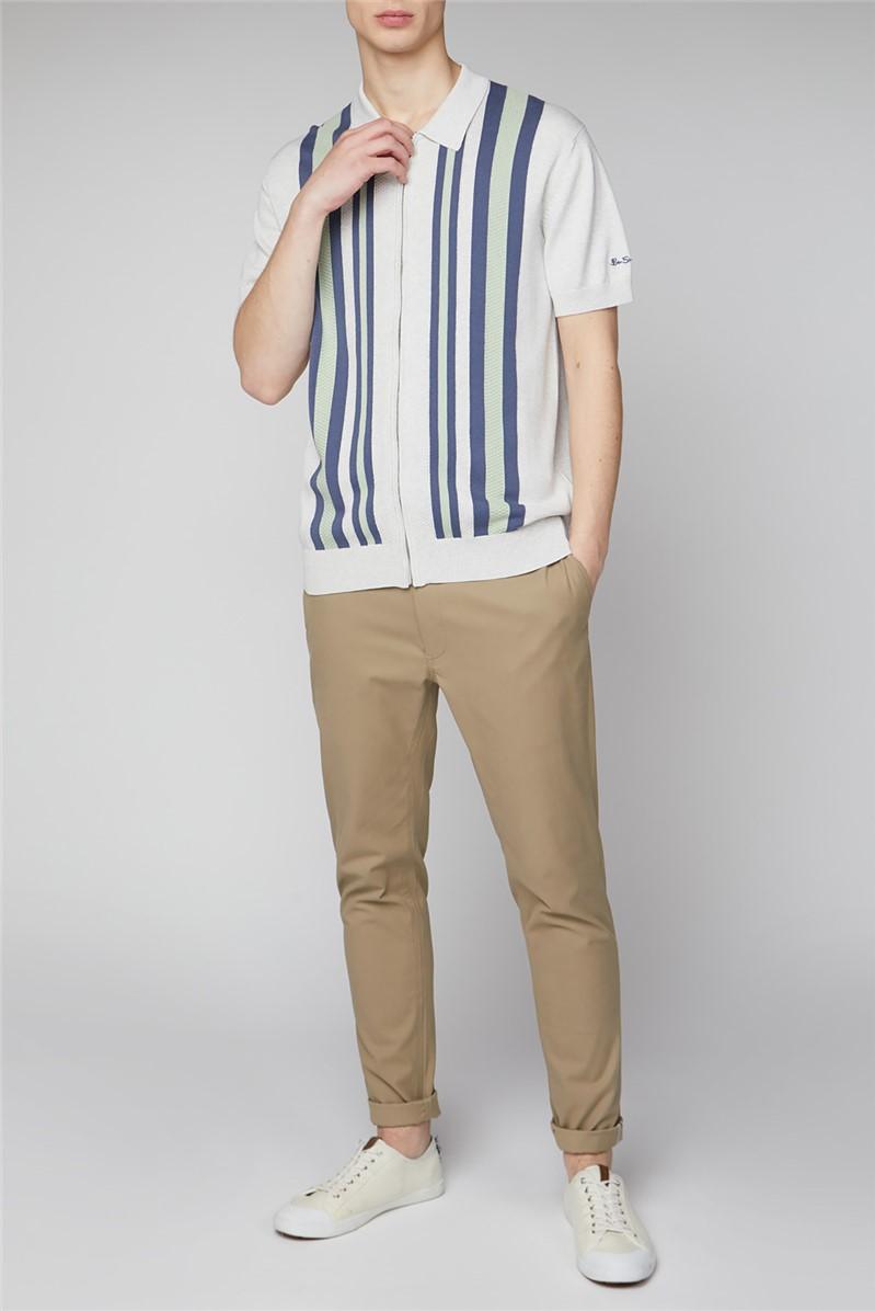 Textured Stripe Zip Through Polo