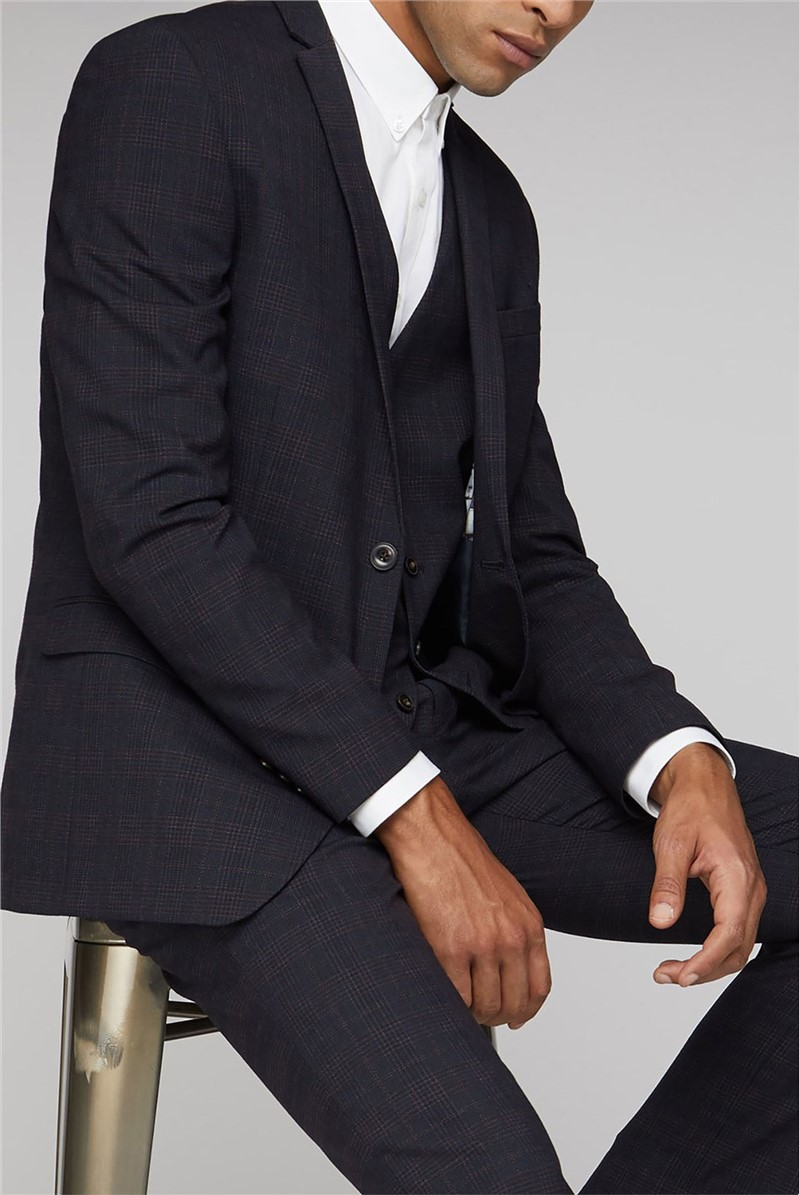 Midnight Rust Textured Check Slim Fit Suit