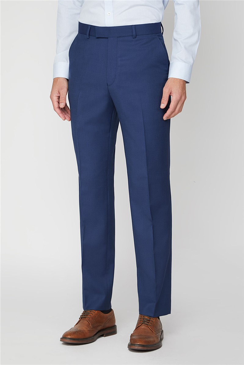 Blue Textured Regular Fit Trouser