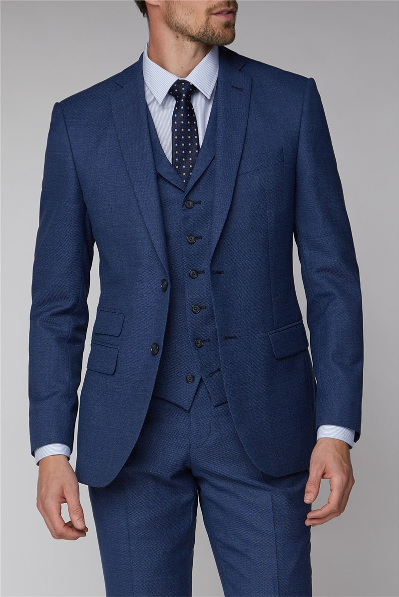 Blue Texture Tailored fit Waistcoat