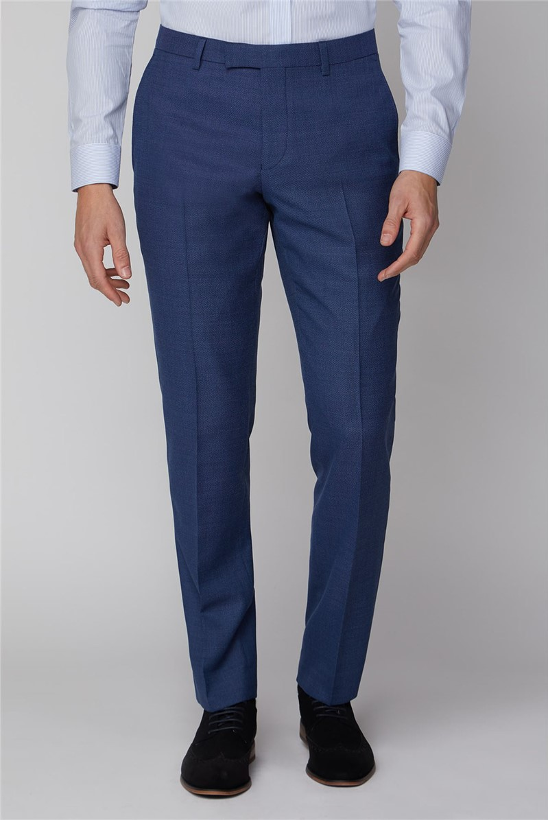 Blue Texture Tailored Fit Trousers
