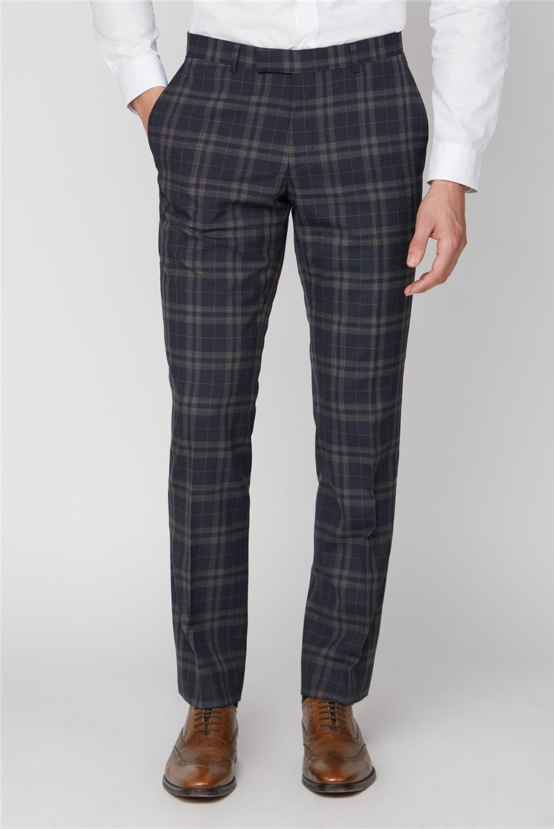 Navy Brown Bold Check Tailored Fit Trousers