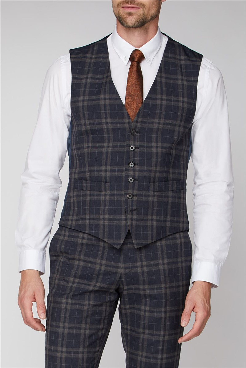 Navy Brown Bold Check Tailored Fit waistcoat