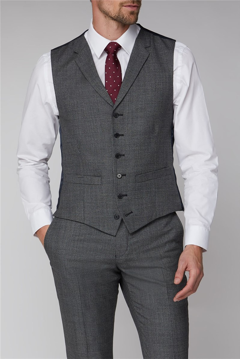 Charcoal Texture Tailored Suit Waistcoat