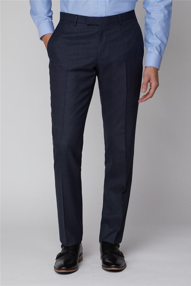 Navy Birdseye Tailored Fit Trouser
