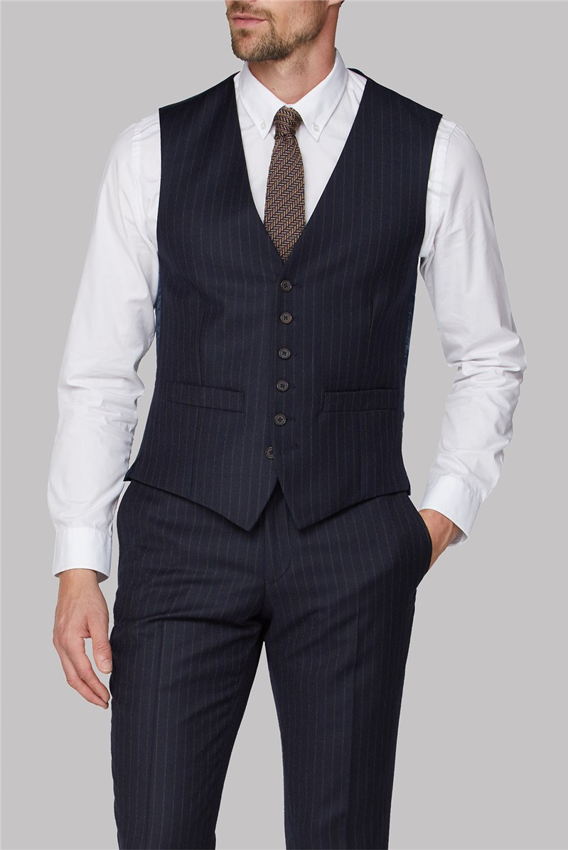Navy Camel Stripe Tailored Fit Waistcoat