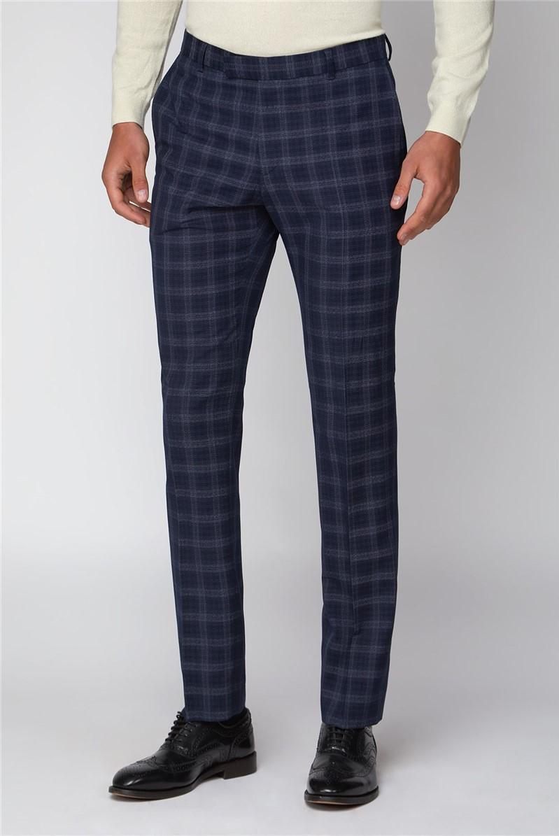 Navy Check Slim Fit 3 Piece Suit