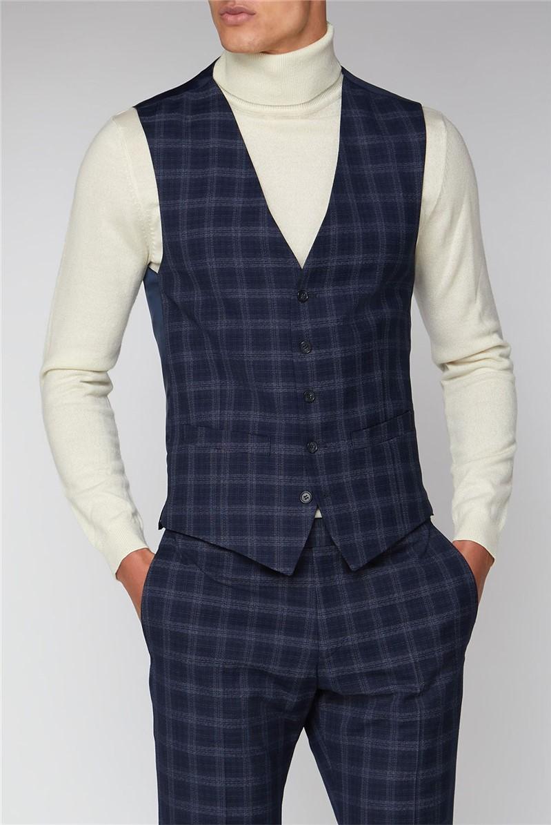 Navy Check Slim Waistcoat
