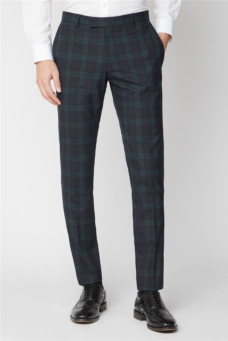 Navy Green Tartan Skinny Suit Trouser