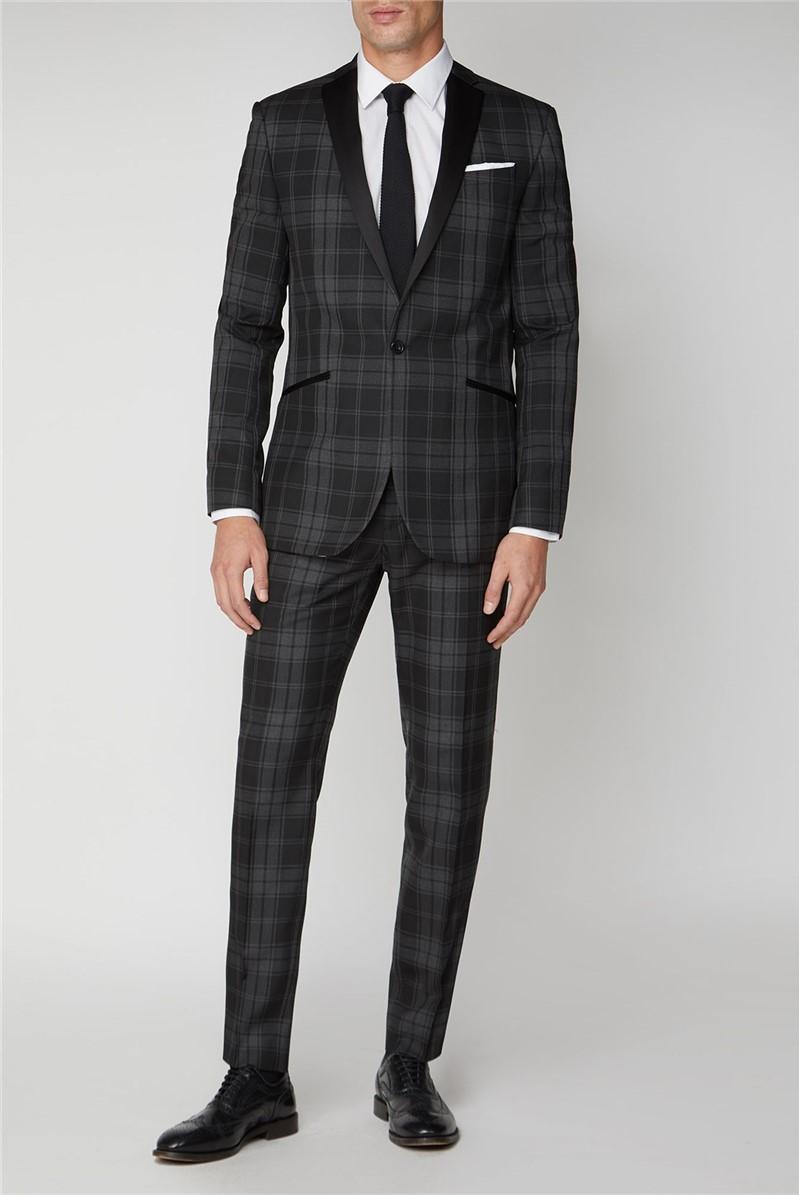 Black Grey Check Slim Fit Mens Suit