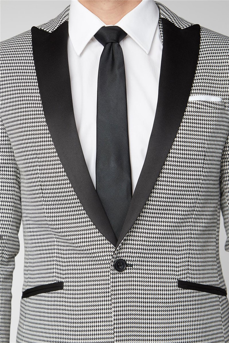 Black Puppytooth Checked Skinny Fit Mens Suit Trousers