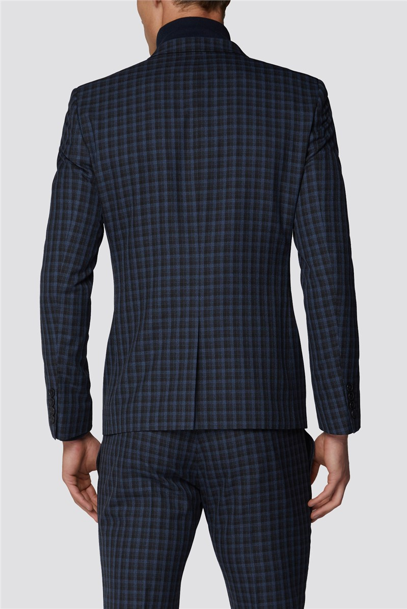 Black Shadow Mini Check Skinny Fit Suit