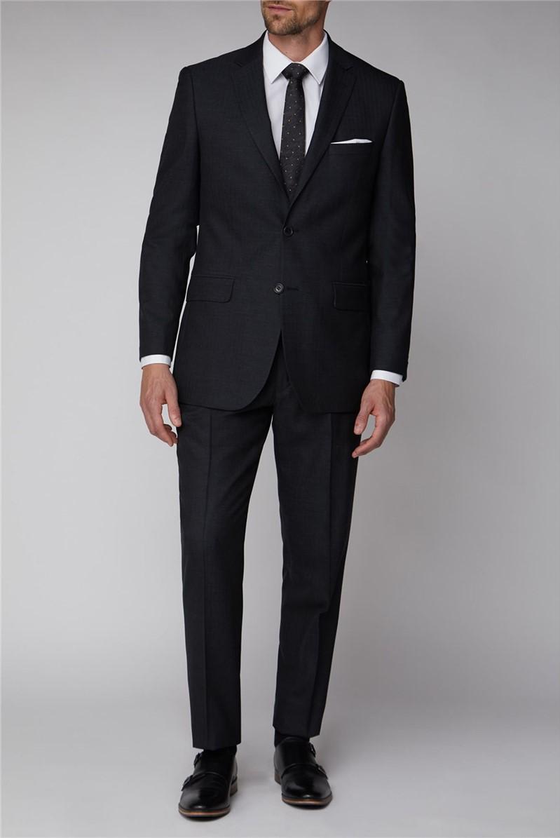 Charcoal Herringbone Regular Fit Suit