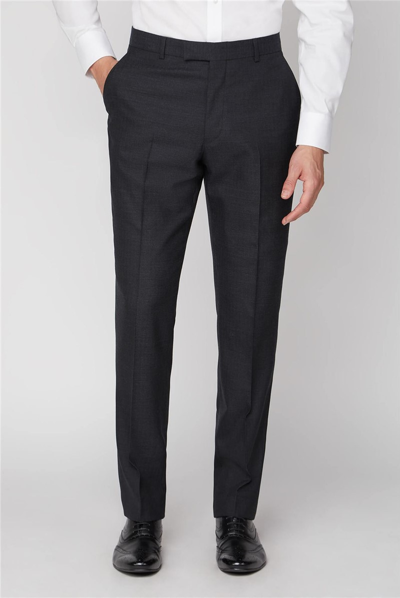 Charcoal Herringbone Wool Regular Fit Suit Trousers