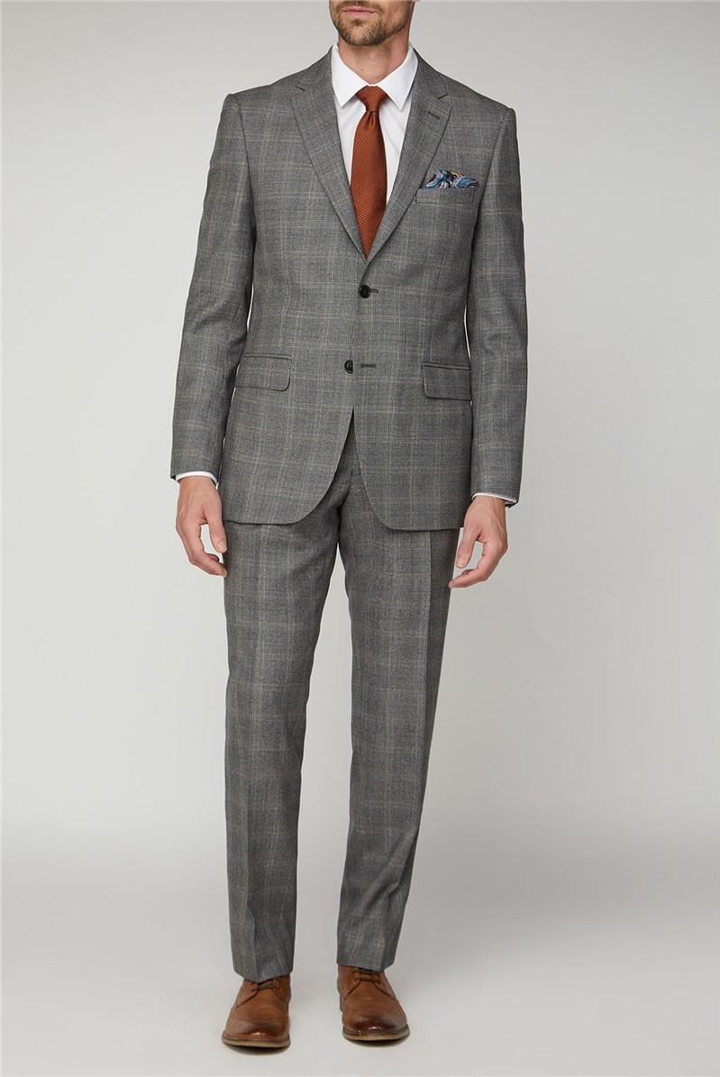 Grey Rust Check Regular Fit Jacket