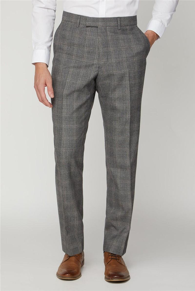 Grey Rust Check Wool Regular Fit Trouser