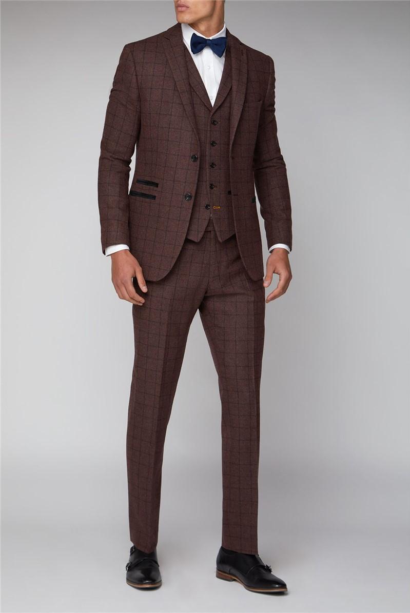 Burgundy Check Slim Fit Mens Suit