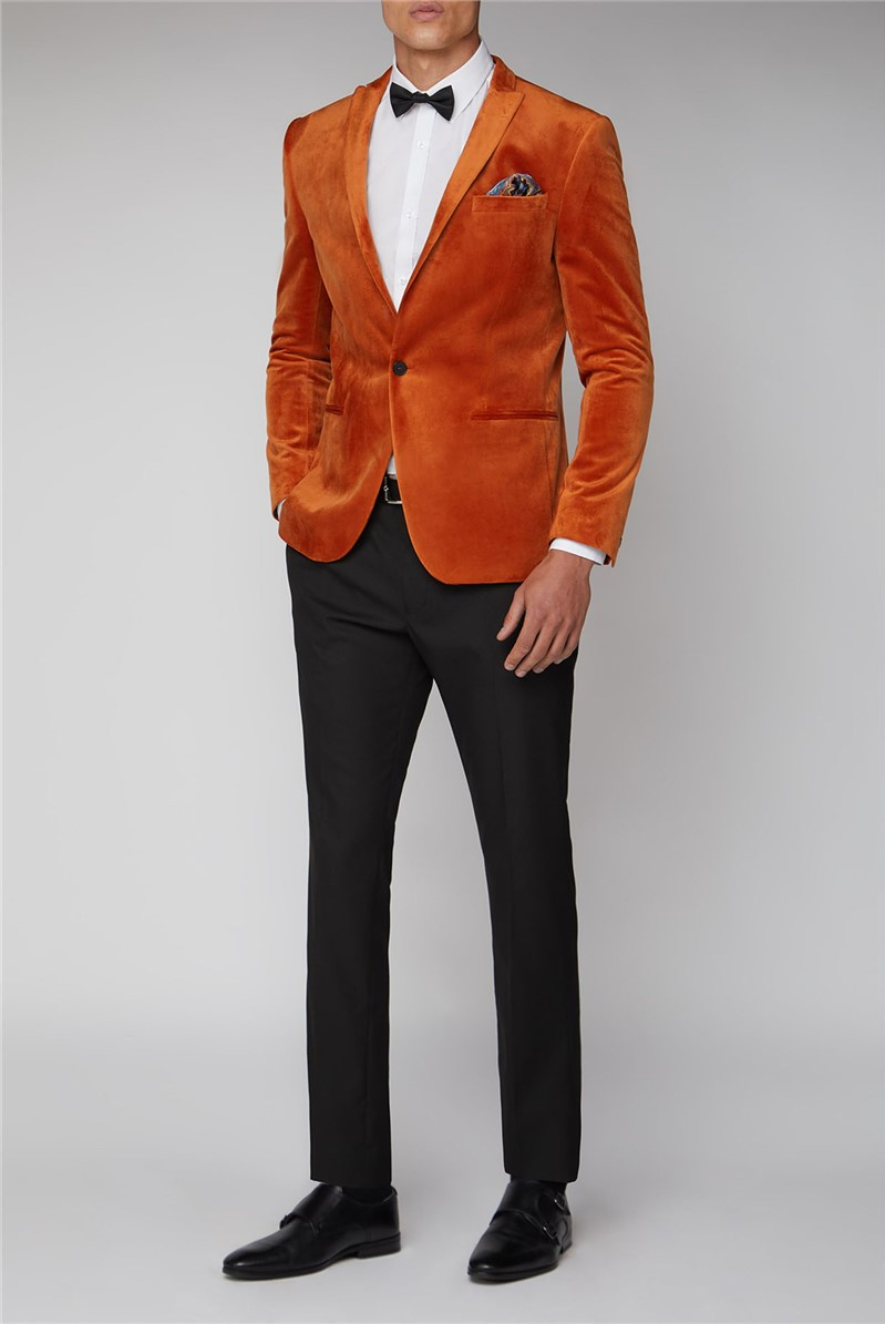 Burnt Orange Slim Velvet Jacket