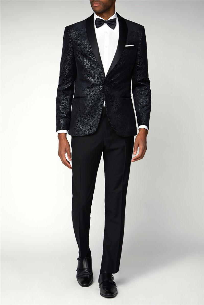 Black Printed Velvet Slim Fit Jacket