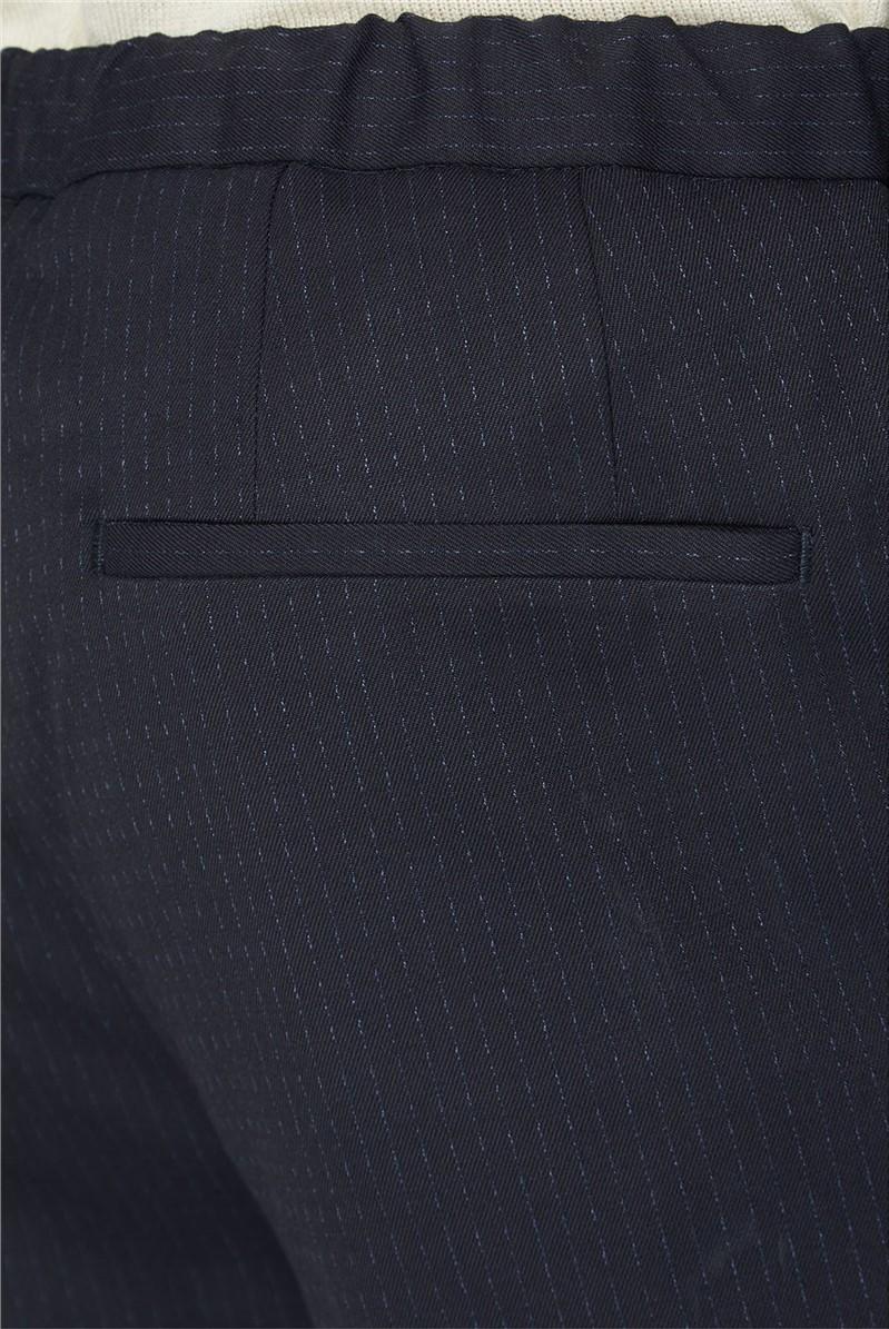 Navy Drawstring Slim Fit Trousers