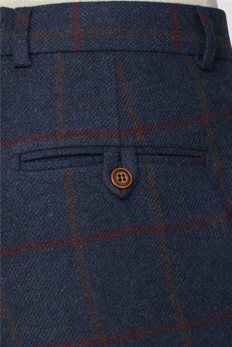 Blue Red Check Tweed Tailored Fit Suit