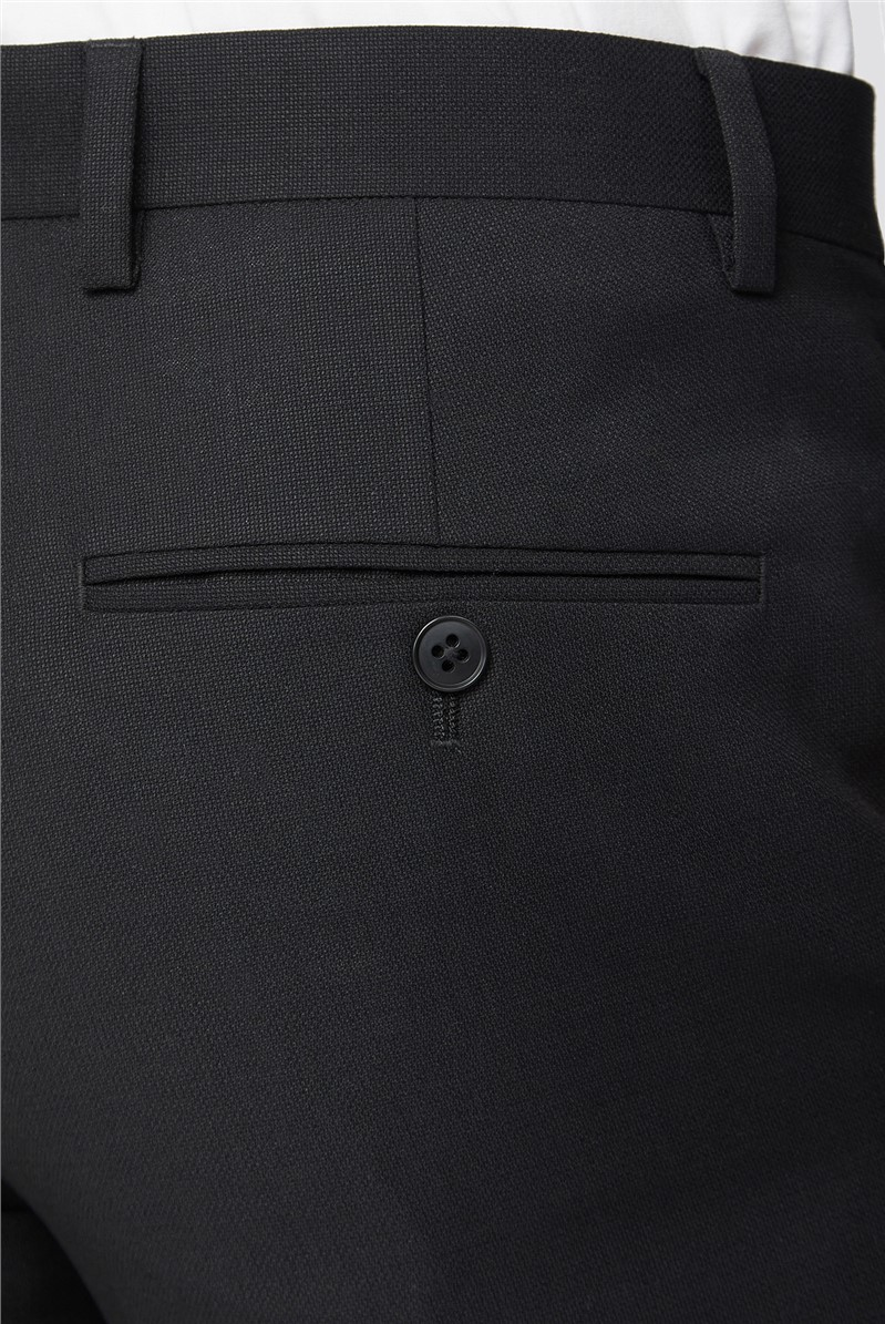 Black Texture Tailored Fit Suit Trouser