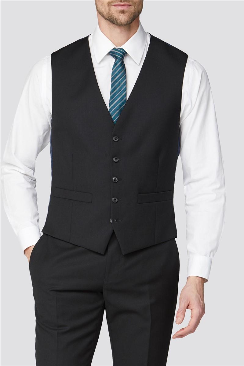 Black Texture Waistcoat