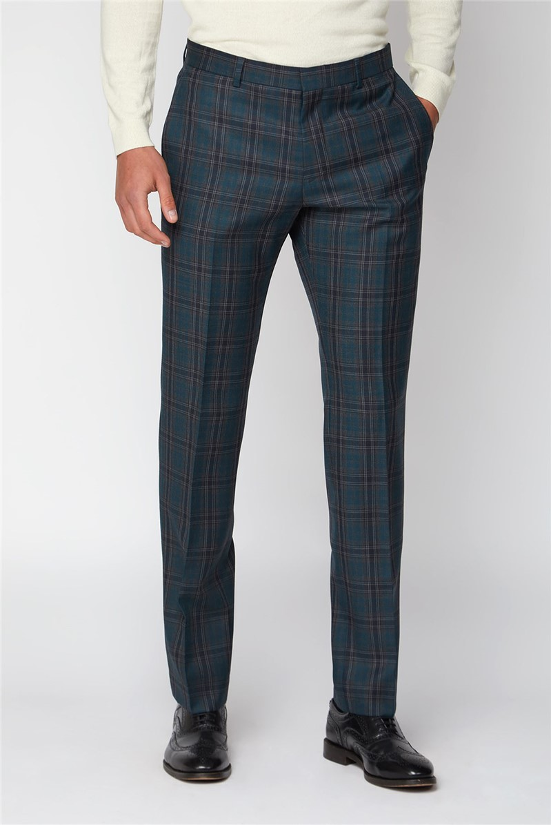 Charcoal Teal Check Slim Fit Trouser