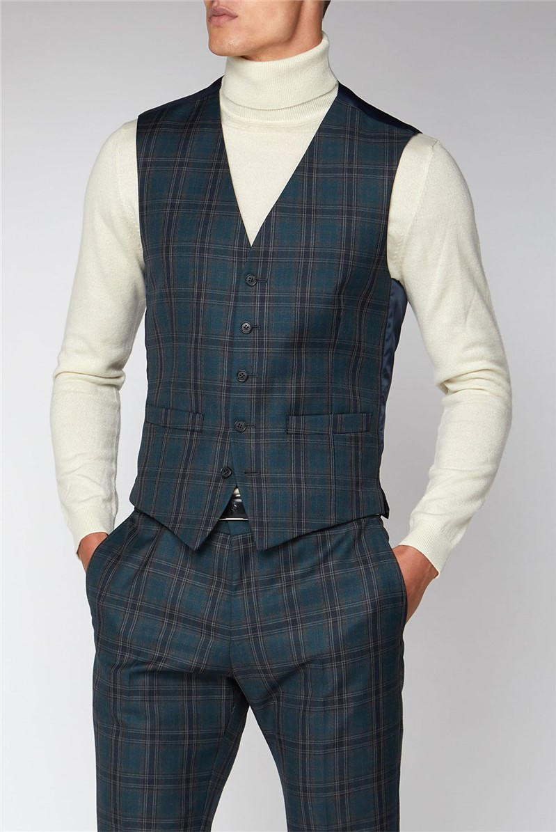 Charcoal Teal Check Slim Fit Waistcoat