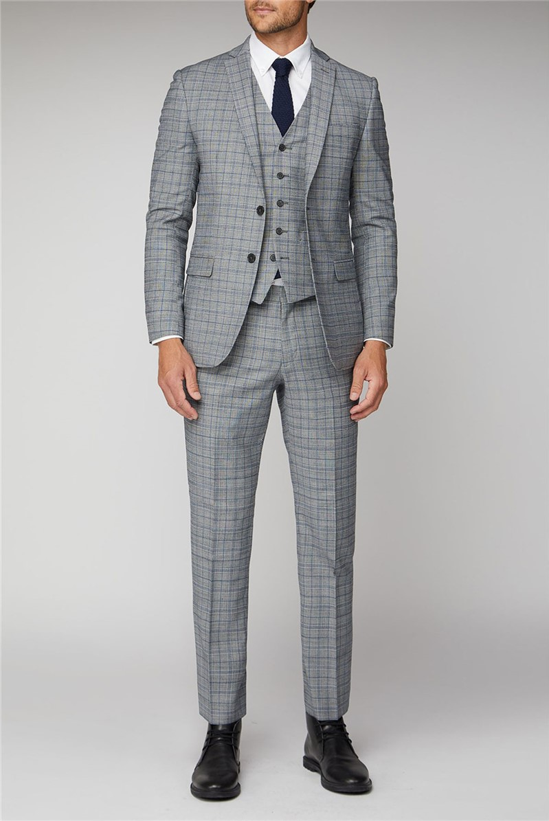 Cool Grey Blue Check Suit