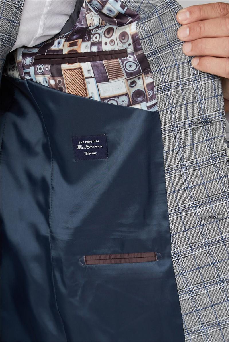 Cool Grey Blue Check Jacket