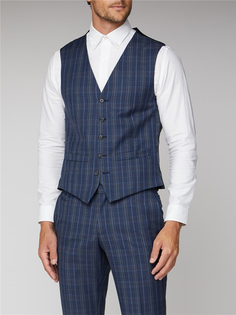 Navy Bold Check Tailored Fit Waistcoat