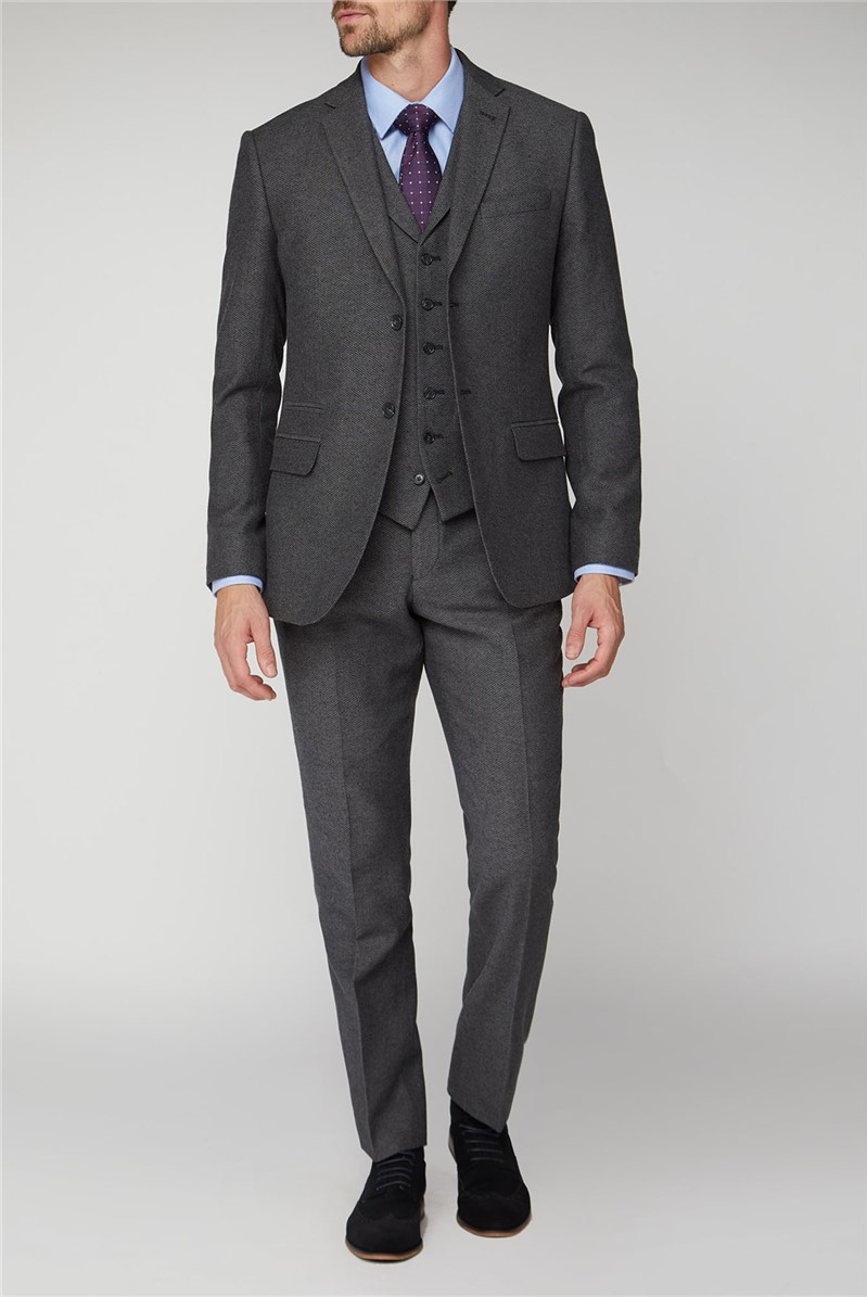 Charcoal Honeycomb Texture Tailored Fit Jacket