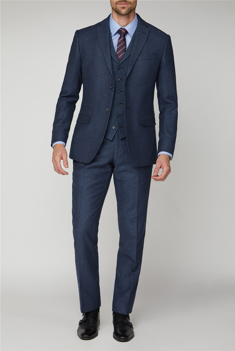 Navy Honeycomb Texture Tailored Fit Suit