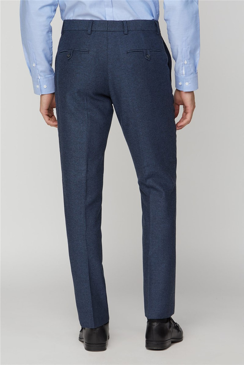 Navy Honeycomb Texture Tailored Fit Trousers
