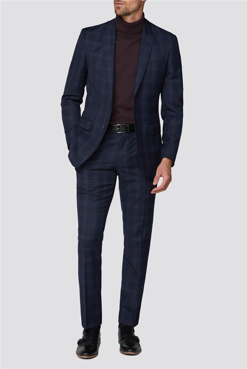 Navy Textured Check Tailored Fit Suit
