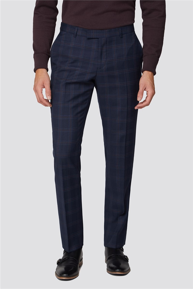 Navy Textured Check Tailored Fit Suit Trouser