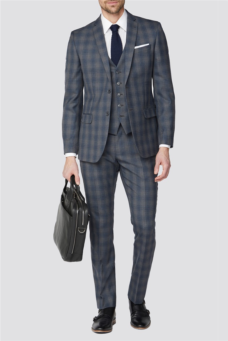 Grey Blue Check Tailored Fit Suit Trouser