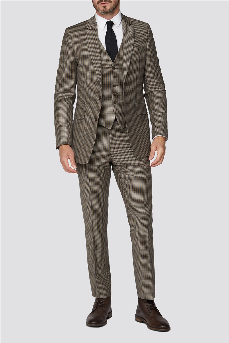 Branded Stone Micro Checked Tailored Fit Suit Trouser